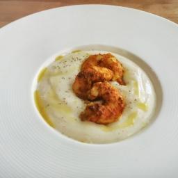 Crema di riso basmati e mazzancolle al curry
